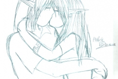 Link et Lanna s'embrassant