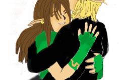 Link et Lanna souriant (avec couleurs)