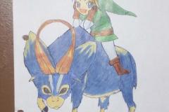 Chibi Link sur une chèvre bleue