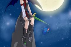 Saria la sorcière maléfique sous le ciel étoilé